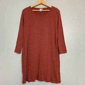 PERUVIAN CONNECTION | brick red T-shirt dress XL